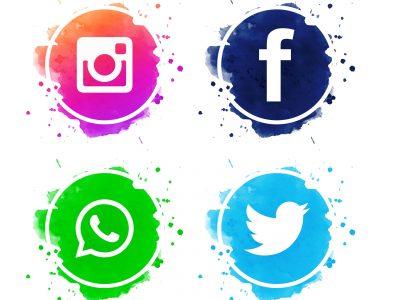 Beautiful social media icons set vector